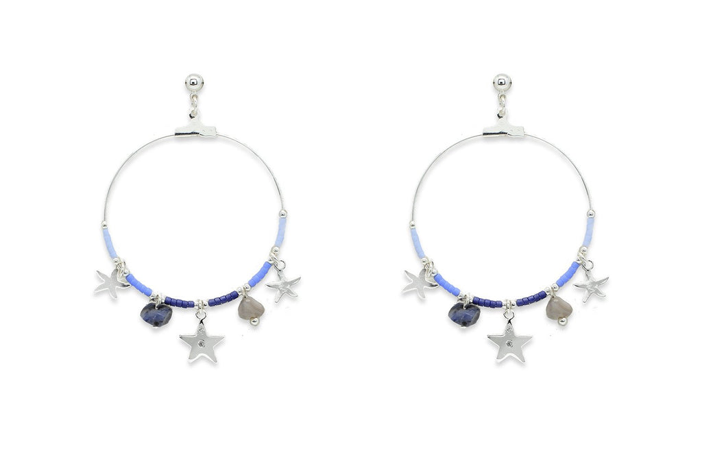Pequi Blue & Silver Charm Hoop Earrings - Boho Betty