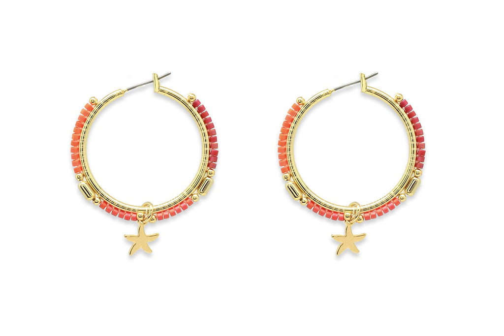 Nanche Orange Beaded Starfish Hoop Earrings - Boho Betty