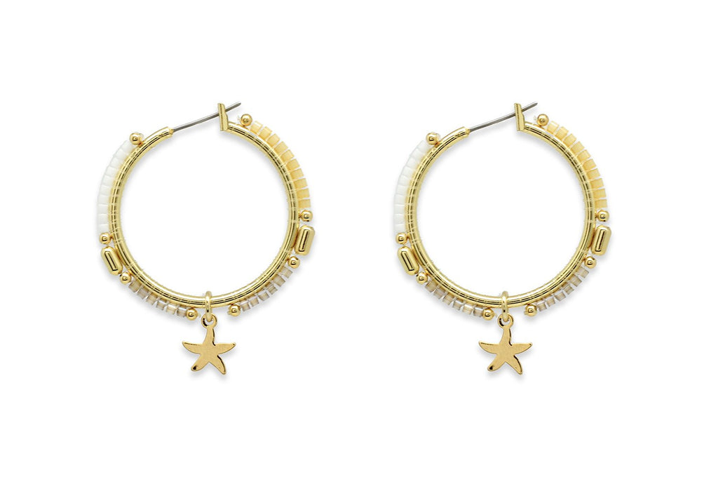 Nanche Gold Beaded Starfish Hoop Earrings - Boho Betty