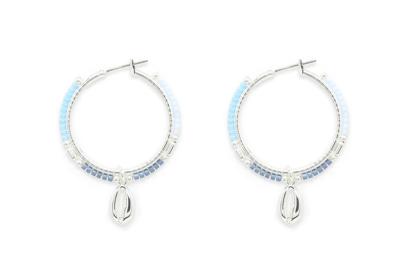 Nanche Blue Hoop Shell Earrings - Boho Betty