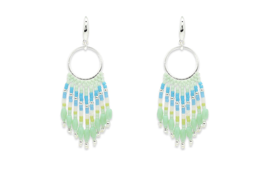 Morinda Mint Green Beaded Tassel Earrings - Boho Betty