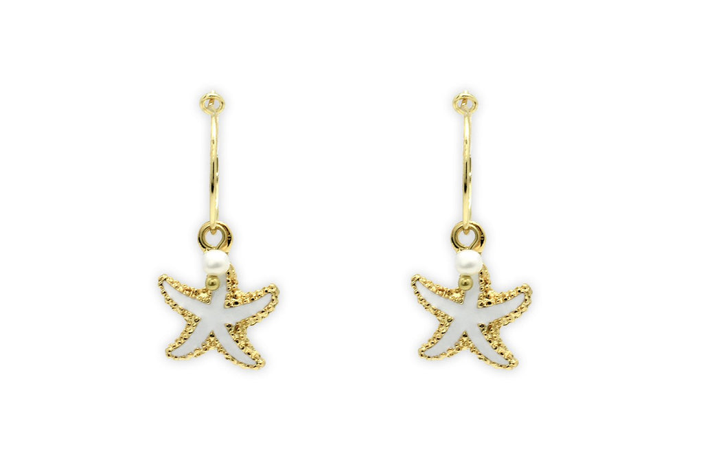 Clementine White Starfish Charm  Earrings - Boho Betty