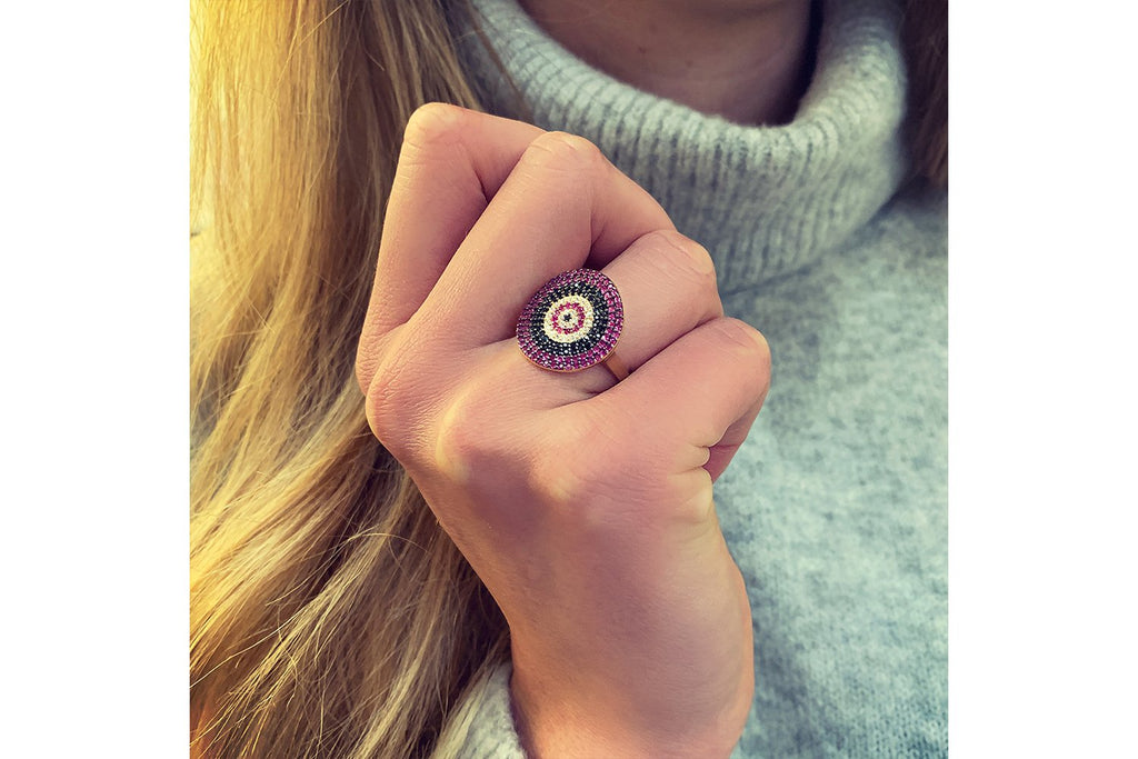 Grande CZ Pink Beaded Ring - Boho Betty