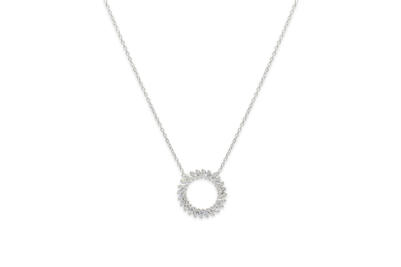 Agavero Sterling Silver CZ Disc Necklace - Boho Betty