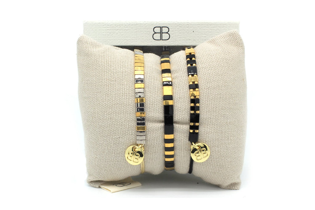 Suspicion 3 Layered Black Tila Bracelet Stack - Boho Betty