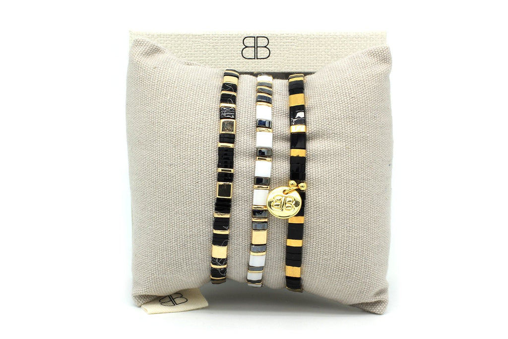 Scorpius 3 Layered Tila Beads Bracelet Stack - Boho Betty