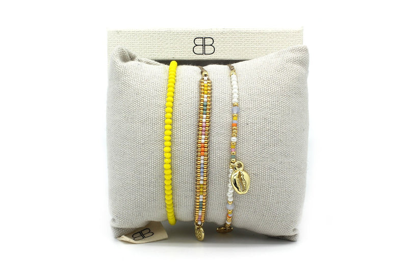 Bath Multicolour 3 Layered Bracelet Stack - Boho Betty