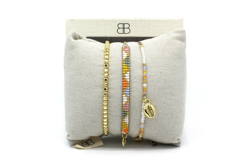 Batumi Multicolour 3 Layered Bracelet Stack - Boho Betty