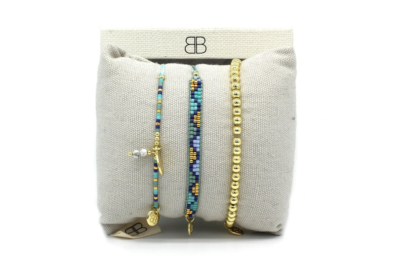 Dakar Blue & Gold 3 Layered Bracelet Stack - Boho Betty