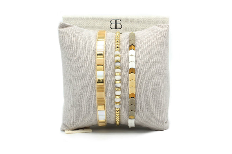 Cacari Gold Tila Bead Bracelet - Boho Betty