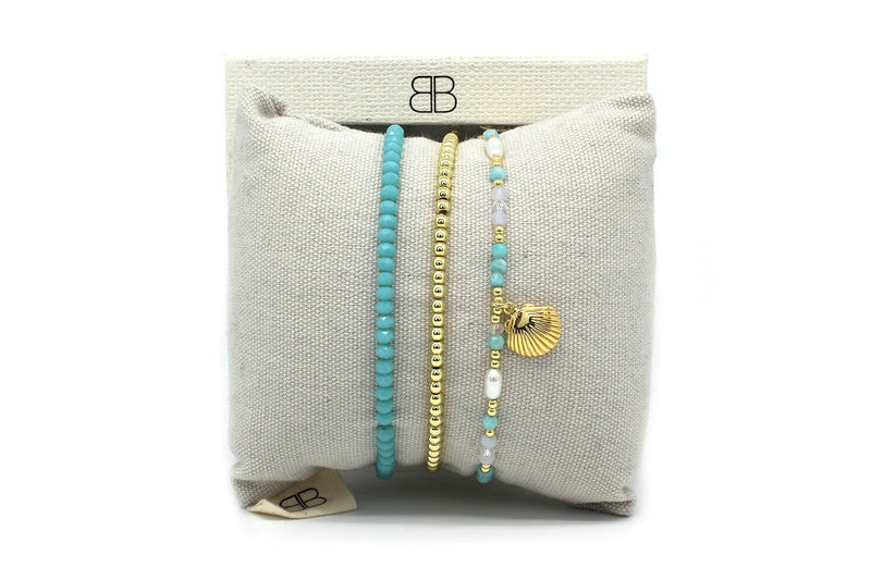 Kobe 3 Gold & Blue Layered Bracelet Stack - Boho Betty