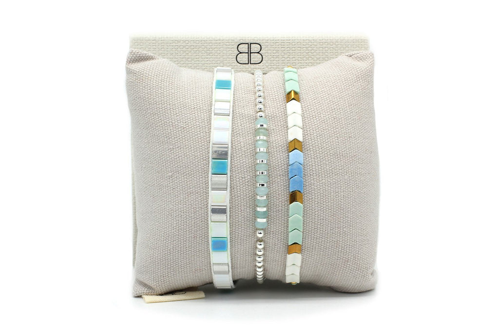 Cacari Mint Aqua Tila Bead Bracelet - Boho Betty