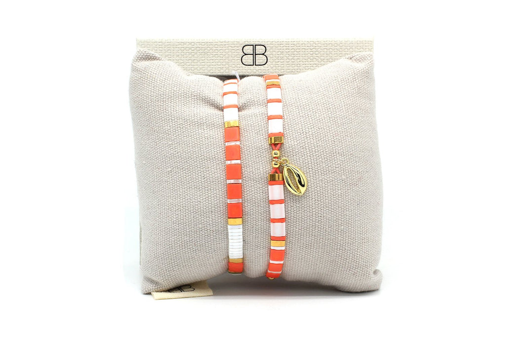 Winberry Orange Stretch Tila Bead Bracelet - Boho Betty