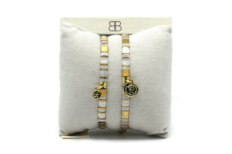 Dubai Cream 2 Layered Bracelet Stack - Boho Betty