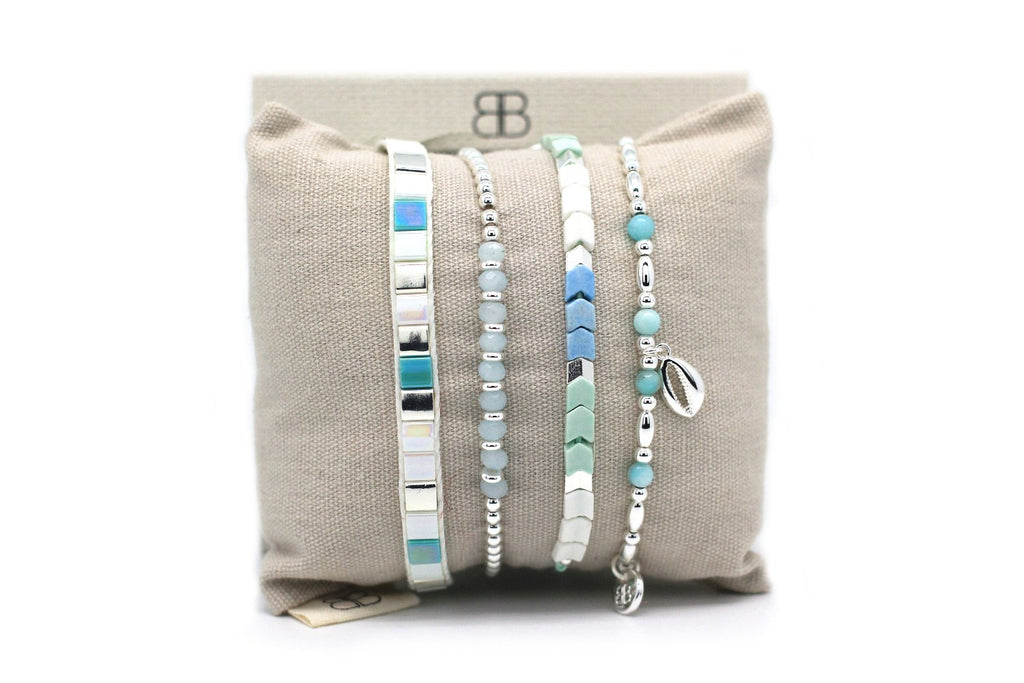 Macao  Mint 4 Layered Bracelet Stack - Boho Betty
