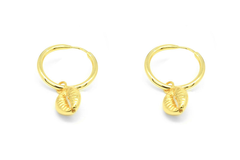 Tatyana Gold Shell Full Hoop Earrings - Boho Betty