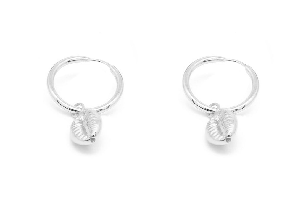 Tatyana Silver Shell Full Hoop Earrings - Boho Betty
