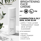 ACNE SCAR COMBO: NIHON TRIPLE ACTION SERUM + NIHON FACE CREME + ADAPALANE 15G