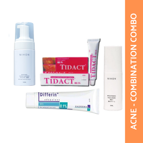 ACNE/COMBINATION SKIN COMBO: NIHON CLEANSER + ADAPALENE 15 + TIDACT + NIHON FACE CREME