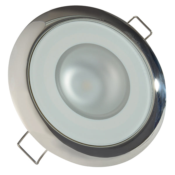 Lumitec Mirage - Flush Mount Down Light - Glass Finish/Polished SS Bezel - 2-Color White/Blue Dimming [113111]