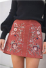 Embroidered Suede Skirt