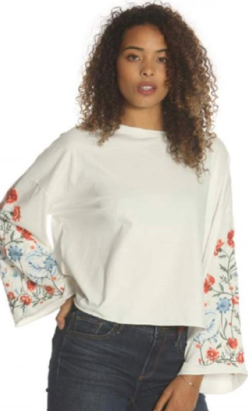 Dwood Belle LS Emb Tee