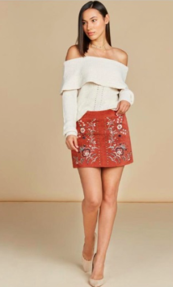 W Clay Emb S/Skirt