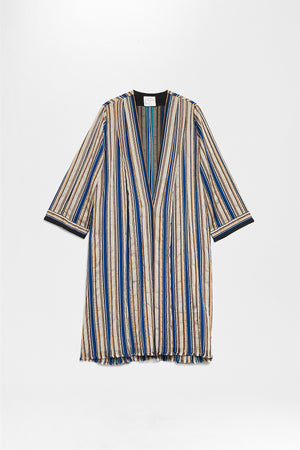 FORTE FORTE | Striped Metallic Lurex Duster Coat