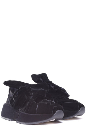 MM6 MAISON MARGIELA | Black Tie Bow Velvet and Suede Sneakers