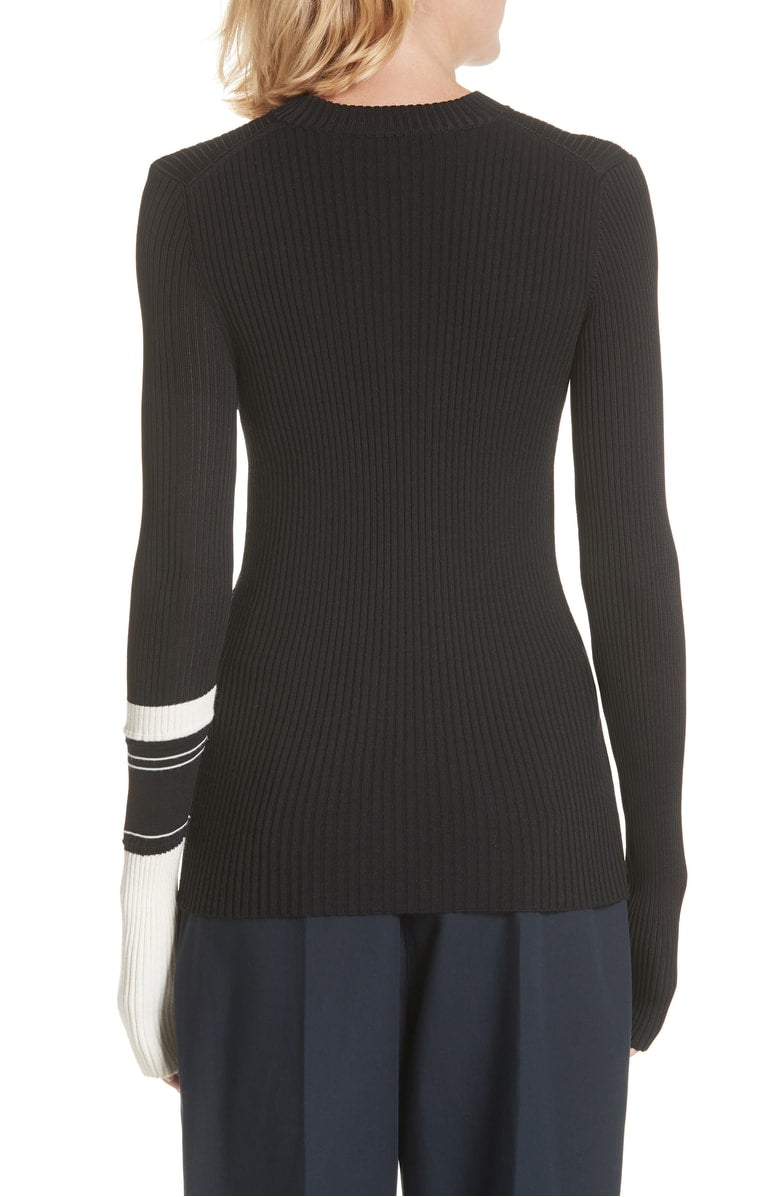 CALVIN KLEIN 205W39NYC | Stripe Detail Knit Sweater in Black