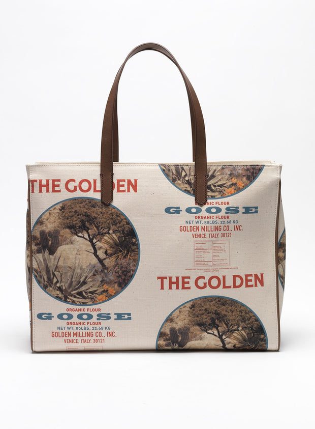 GOLDEN GOOSE | 'California' Canvas Tote Bag in Gold Mill Print