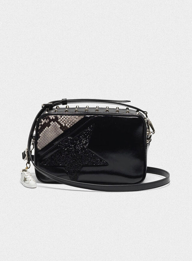GOLDEN GOOSE | 'Star' Bag With Studs, Crystals & Snakeskin Print