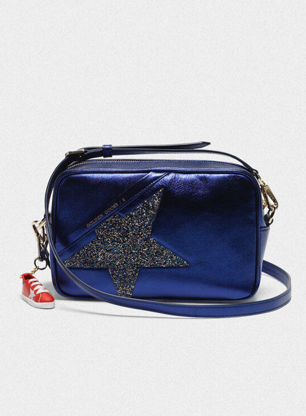 GOLDEN GOOSE | 'Star' Bag in Blue With Crystal Star