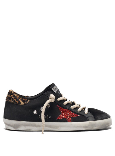 GOLDEN GOOSE | Black Canvas-Leather Red Glitter Superstar Sneakers