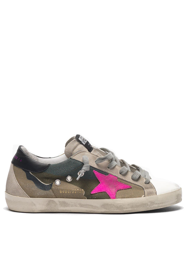 GOLDEN GOOSE | Canvas Camo-Fuchsia Suede Superstar Sneakers
