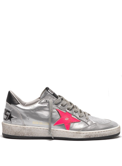 GOLDEN GOOSE | Silver-Pink Metallic Ball Star Sneakers