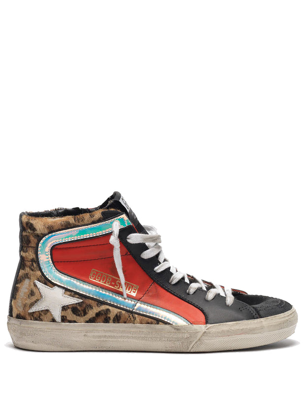 GOLDEN GOOSE | Snow Leopard-Red-White Slide High-Top Sneakers
