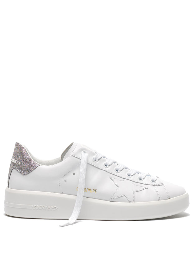 GOLDEN GOOSE | White-Silver Glitter Leather Pure Star Sneakers