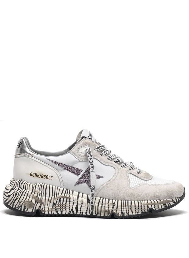 GOLDEN GOOSE | White-Zebra Leather Running Sole Sneakers