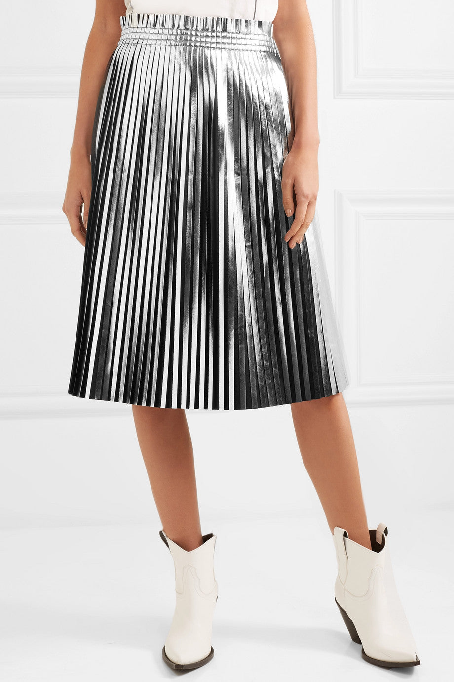 MM6 MAISON MARGIELA | Metallic Pleated Skirt