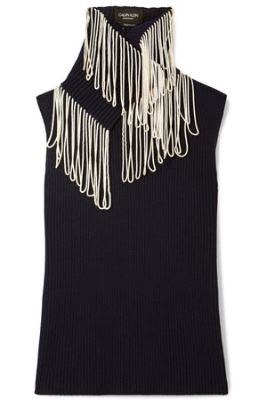 CALVIN KLEIN 205W39NYC | Convertible Fringed Ribbed-Knit Sleeveless Turtleneck in Navy