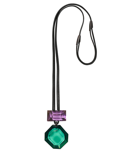 MONIES | Madison Pendant Necklace in Green/Purple