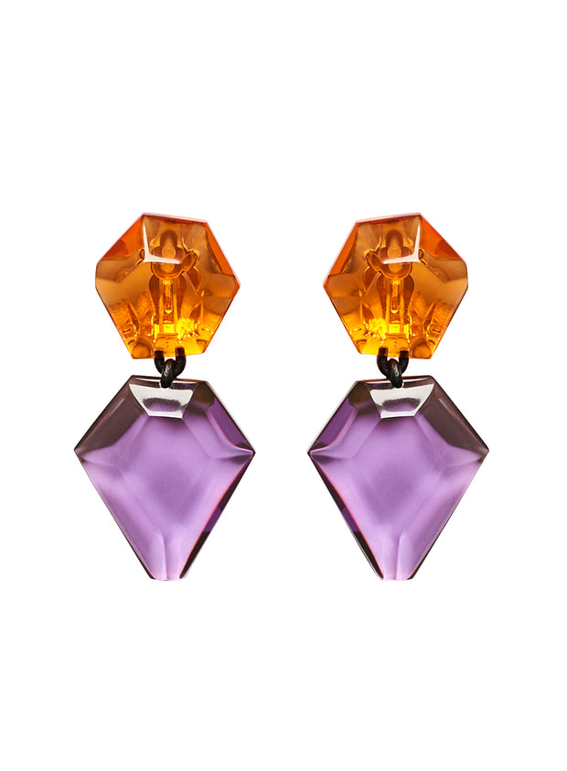MONIES | Riley Clip-On Earrings in Orange/Purple