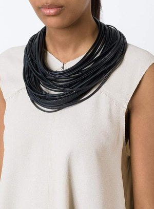 MONIES | Leather Multi Strand Necklace