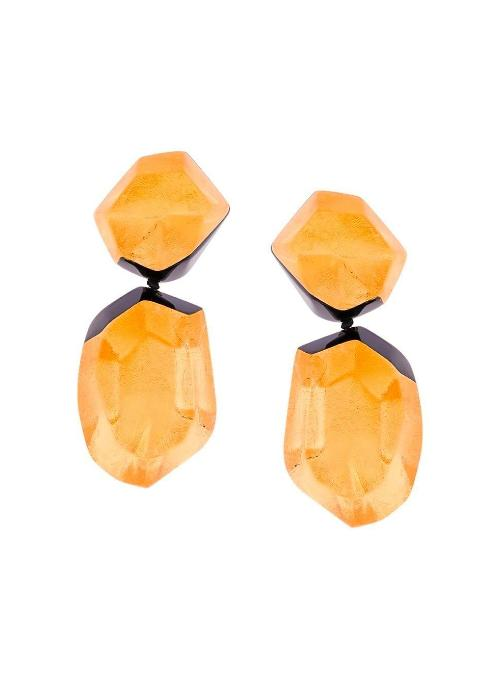 MONIES | Black and Gold-Toned Double Stone Earrings