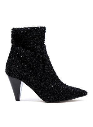 MICHELE LOPRIORE | Knitted Sparkle Ankle Boot in Black