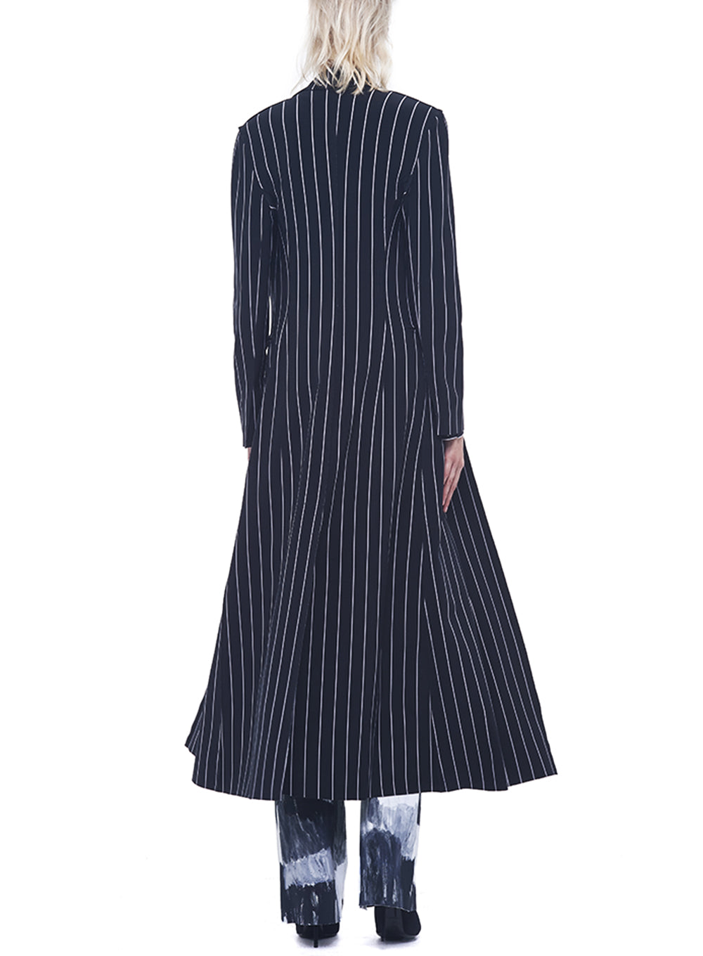NORMA KAMALI | Single Breasted Robe in Black Stripe
