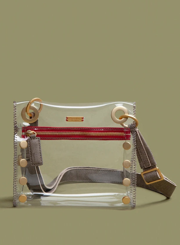 HAMMITT | Small Tony Bag in Clear Brushed Gold & Red