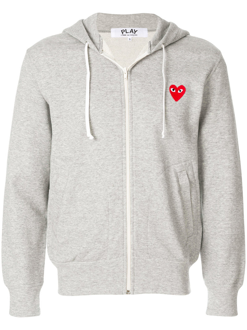 COMME DES GARÇONS PLAY | Women's Five Hearts Zip-up Hoodie in Grey