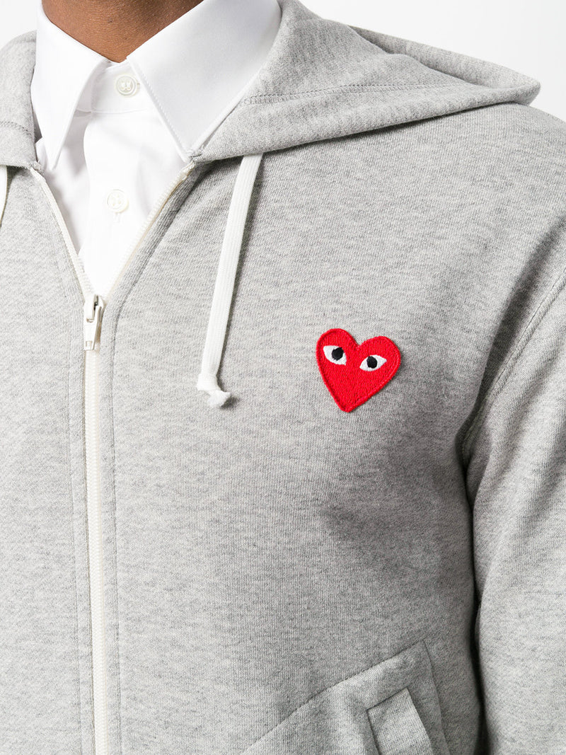 COMME DES GARÇONS PLAY | Men's Five Hearts Zip-Up Hoodie in Grey